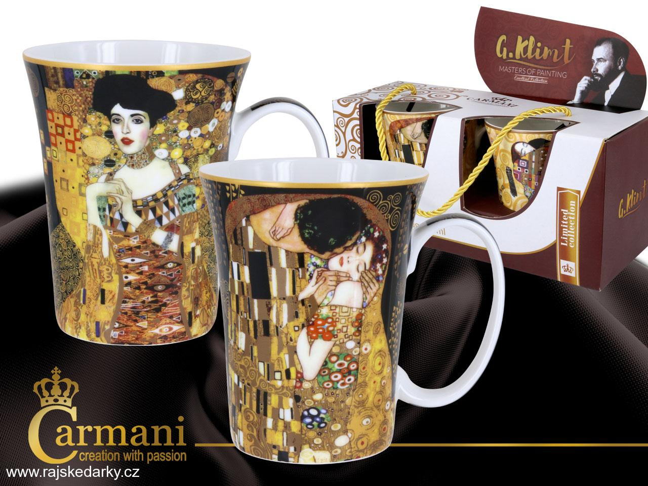 Set 2 ks hrnků 300 ml Gustav Klimt Kiss+Adela, CARMANI