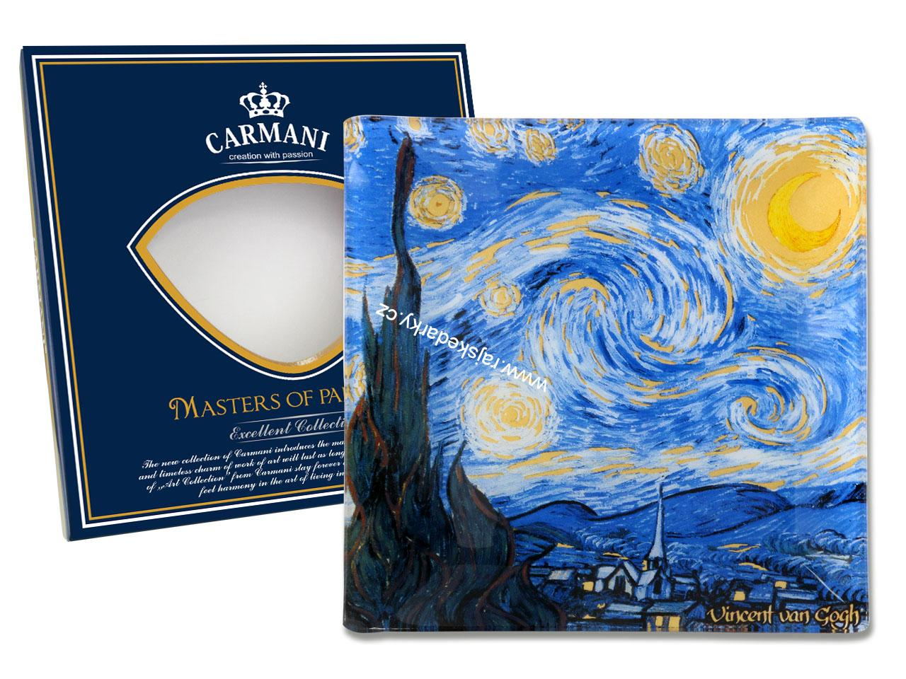 Skleněný tác 13x13 cmVincent van GOGH The Starry night, CARMANI