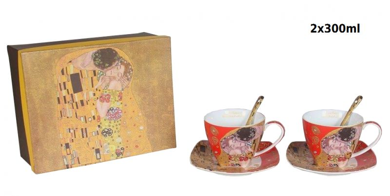 Šálek s podšálkou- set 2 ks, Gustav Klimt The Kiss, Queen Isabell, 22652