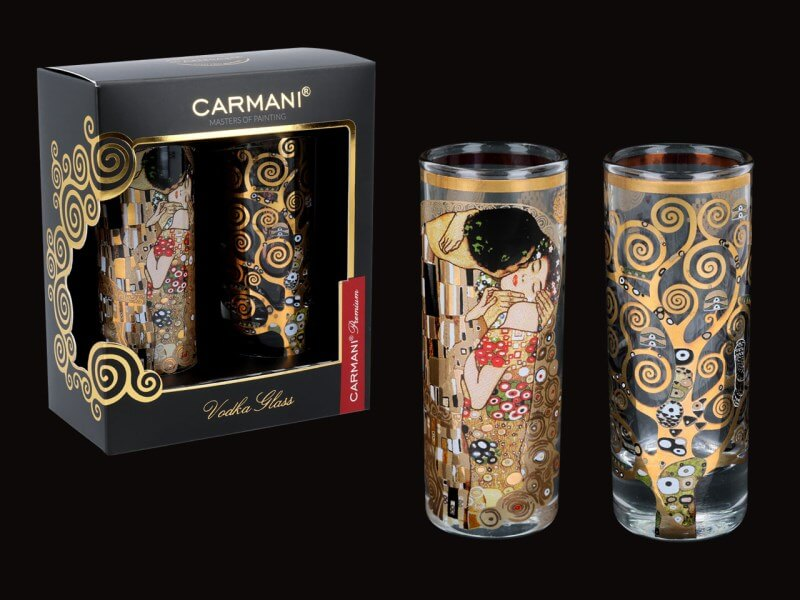 Skleněný panák 60 ml - set 2 ks Gustav Klimt The Kiss + The trees, CARMANI 8413124