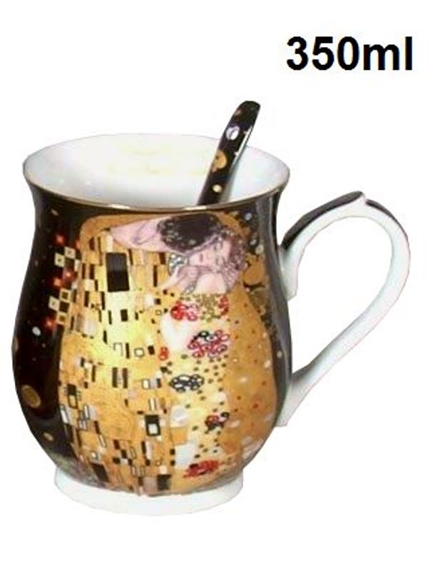Hrnek 350 ml se lžičkou Gustav Klimt The Kiss, Queen Isabell, 22444
