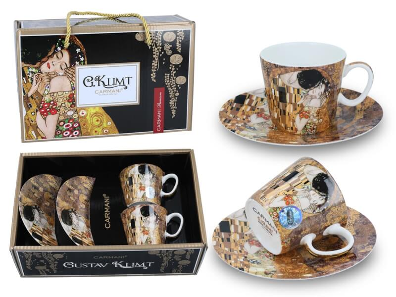 Set 2 ks mocca šálků Gustav Klimt 0,15 l The Kiss, CARMANI, 5320301N