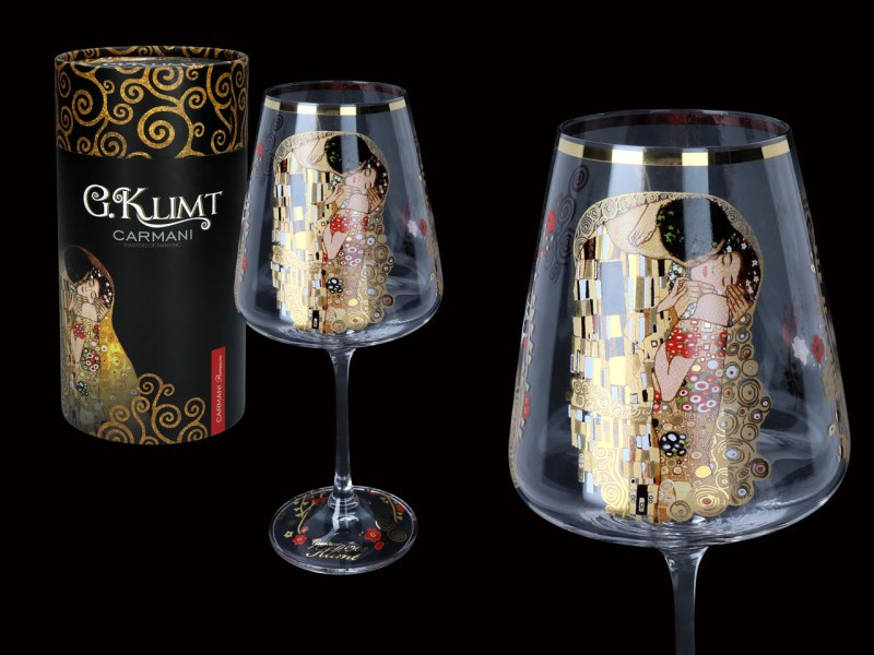 Skleněný kalich 450 ml Gustav Klimt The Kiss, CARMANI, 8413601