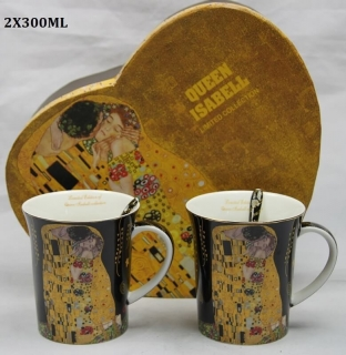 Hrnek 300 ml - set 2 ks, Gustav Klimt  The Kiss, Queen Isabell, 21157