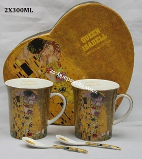 Hrnek 300 ml - set 2 ks, Gustav Klimt The Kiss, Queen Isabell, 21065